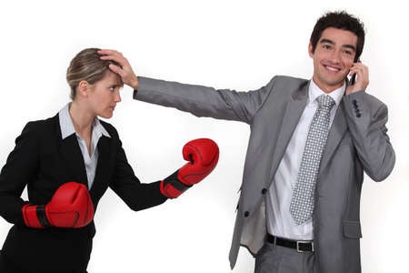 inoffensive: A businesswoman trying to compete.