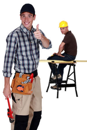 Two cheerful carpenters photo