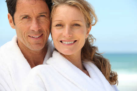 dressing gowns: Couple wearing dressing gowns