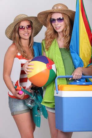 beach ball girl: Teenagers in beach wear Stock Photo