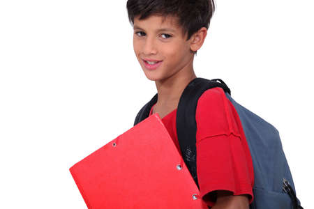 nonuniform: Schoolboy with folder and backpack Stock Photo