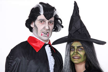 disguised: Portrait of witch and vampire