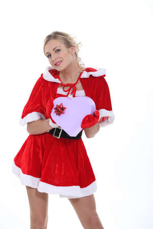 fancy box: Woman dressed as Mrs Claus Stock Photo