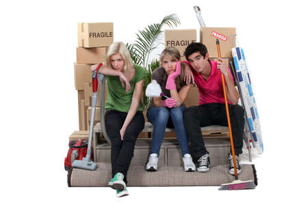 Tired friends on moving day Stock Photo - 17298937