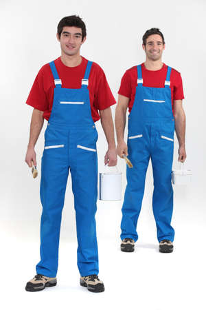 odd jobs: Two decorators ready to work Stock Photo
