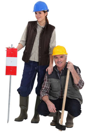 Daughter helping her laborer dad Stock Photo - 17396242