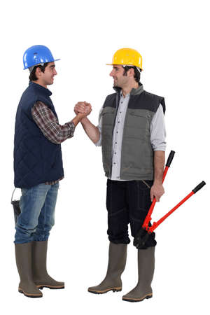 Friendship between construction workers Stock Photo - 17386471