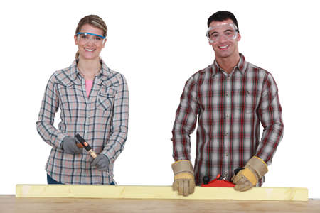measure height: Training in carpentry Stock Photo