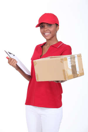 mail delivery: Here is your package  Stock Photo