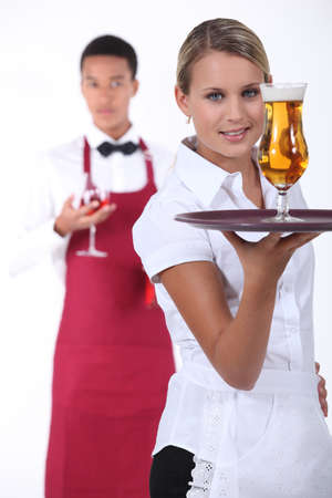 porter: Waiter and waitress Stock Photo
