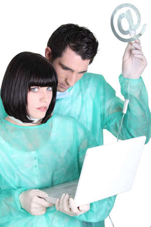 medical staff with computer Stock Photo - 17386723