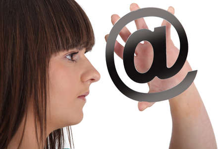 Teen with email symbol Stock Photo - 17385752