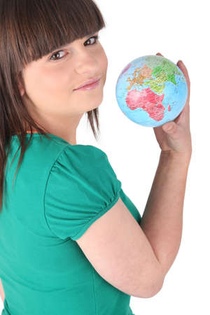 Girl holding a globe photo