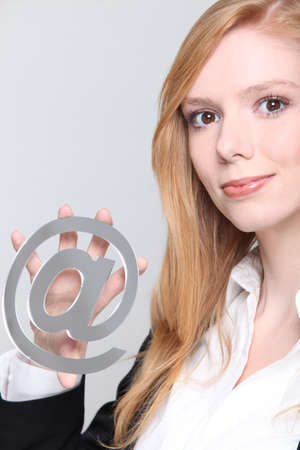 Woman with email symbol photo
