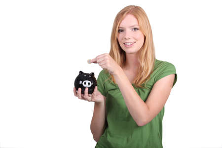 money box: portrait of a young woman with money box