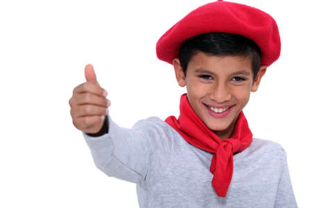 Child with red scarf and beret Stock Photo - 17386148