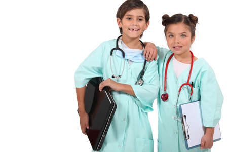 children disguised as doctors photo