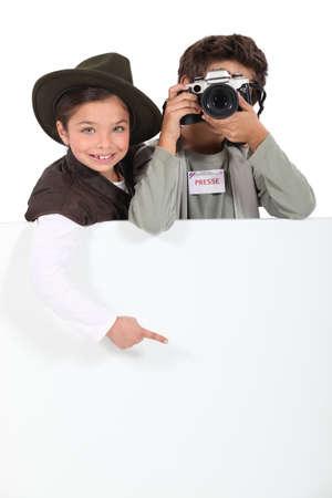 子供のジャーナリスト 写真素材