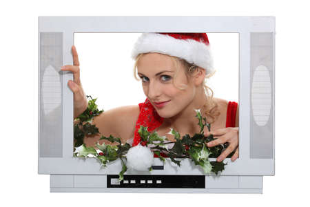 Woman in a television screen Stock Photo - 17385210