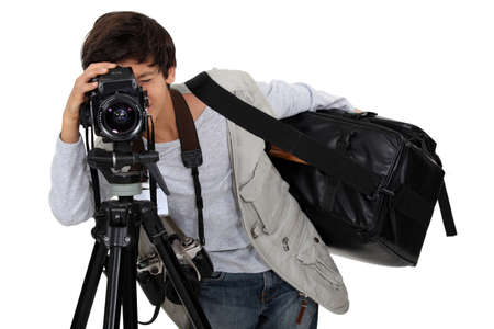 Little boy dressed as cameraman Stock Photo - 17385288