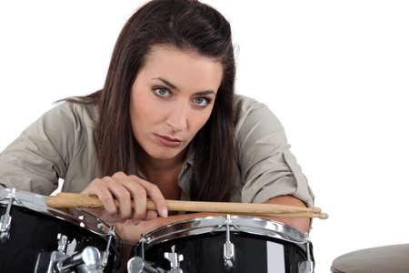 ladies bust: Female drummer