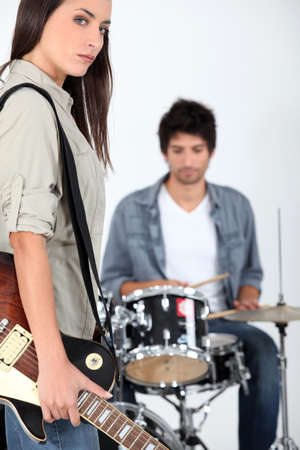 Couple playing music photo