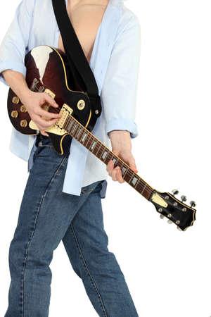 playing the guitar: Man playing guitar