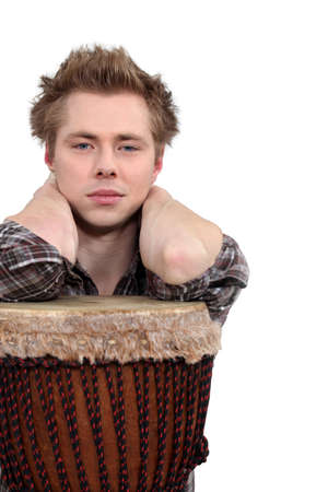 achy: Man posing with his djembe