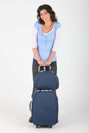 woman with luggage photo