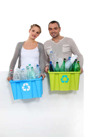 40 45: Couple taking out the recycling