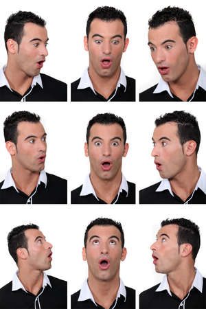 Mosaic of man with look of astonishment on his face Stock Photo - 17475815