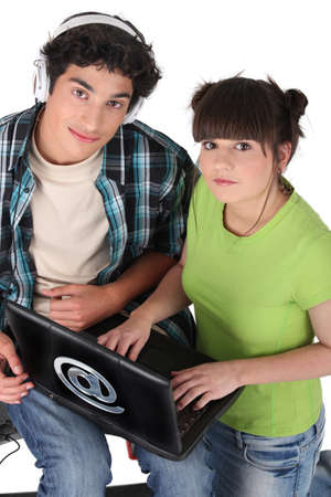 Teens with computer photo