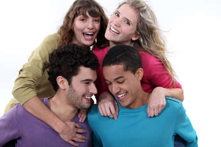 A group of friends laughing together photo