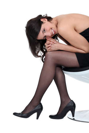 stockings feet: sexy woman posing