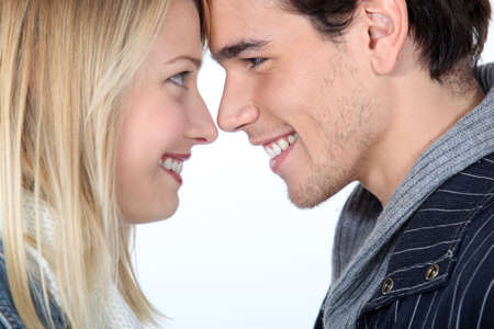 long nose: Man and a woman face to face Stock Photo