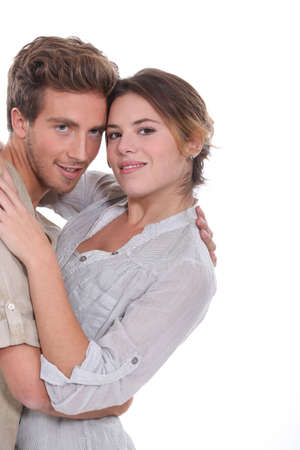 Landscape picture of couple embracing photo