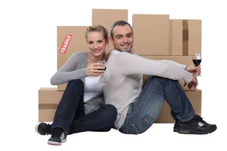 couple celebrating their new apartment photo