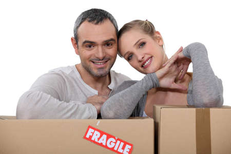 Couple moving into new apartment photo