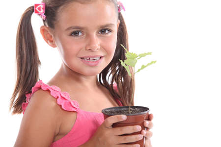 Girl with a plant photo