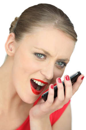 woman shouting: woman shouting on the phone