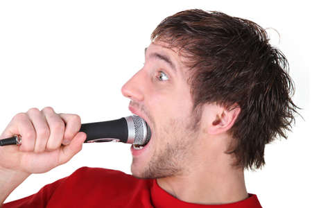swallowing: Man swallowing a microphone