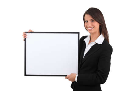 young add: Woman holding white board