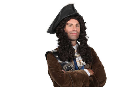 and the horizontal man: Man dressed as a pirate Stock Photo