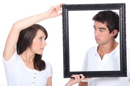 heaviness: Boy and girl with black frame