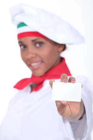 Italian chef with a blank business card Stock Photo - 17506366
