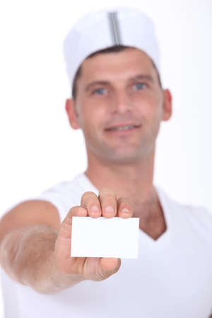 businesscard: Chef holding businesscard