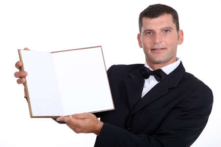 waiter showing menu Stock Photo - 17506354