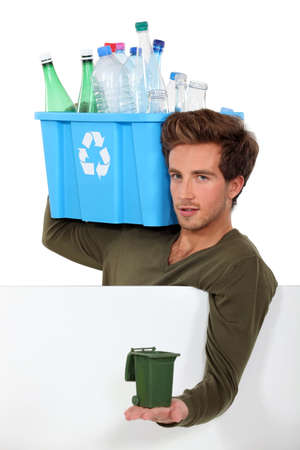 however: Man with empty bottles and containers Stock Photo
