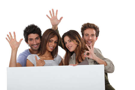 studygroup: four young positive people Stock Photo