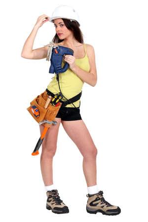 Sexy female carpenter